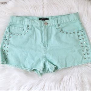 🚨FINAL🚨F21 Studded Mint/Turquoise Jean Shorts